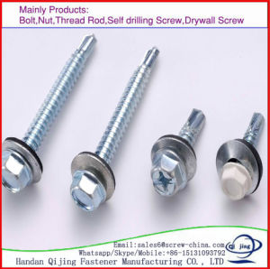 Carbon Steel Galvanized DIN7504 Hex Head Self Drilling Tail Screw pictures & photos
