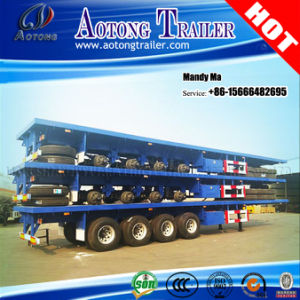 4 Axles 80 Tons Flatbed Semi Trailer, High Bed Trailer pictures & photos