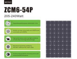 230W Monocrystalline Solar Panel / 27vmp pictures & photos