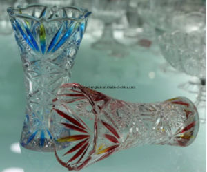 N Machine-Made Clear /Colorful Glass Vase with Sunflower Design (V-HG08) pictures & photos