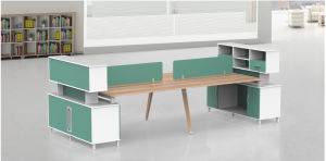 Office Furniture Melamine Workstation Desk with File Cabinet pictures & photos