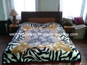 Knitted Raschel Mink Acrylic Blanket pictures & photos