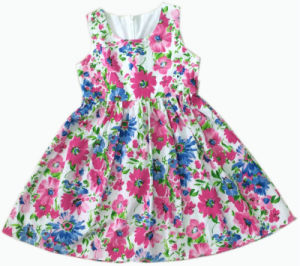 Fashion Mesh Sleeveless Flower Gril Dress for Children Clothes (SQD-106) pictures & photos