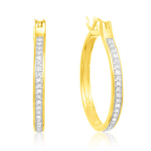 18k Gold Plated White CZ 925 Silver Hoop Earrings Wholesale pictures & photos