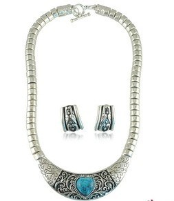 Big Stone and Snake Chain Necklace & Earrings Sets/ Fashion Stone Jewelry/ Stone Jewelry (XJW12264) pictures & photos