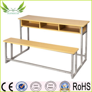 Wooden Double Chair and Desk School Furniture for Sale (SF-39D) pictures & photos
