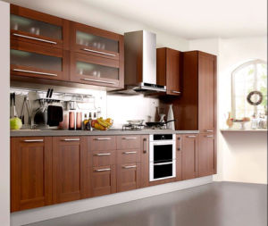 Artificial Wood Veneer Kitchen Cabinet in European Style pictures & photos