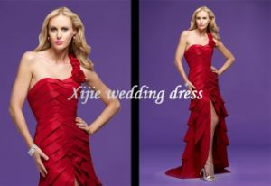 2011 Latest Sexy Red Overlapping Tiers Taffeta With One-Shoulder Cocktail Dress/Evening Dress/Party Dress (3509-X)