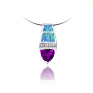 925 Sterling Silver Pendent with Opal and Amethyst (LOP1012)