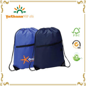 Custom Printed Promotion Nylon Drawstring Backpack with Front Zipper Pocket pictures & photos