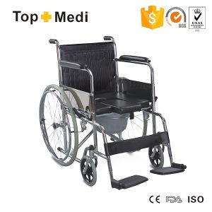 Topmedi Economic Chromed Steel Manual U Shape Seat Commode Wheelchair pictures & photos