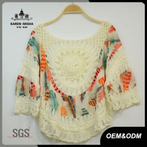 Women Fashion Loose Crochet Patterned Chiffion T-Shirt pictures & photos