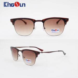 Half-Rim Metal and Plastic Combined Sunglasses Ks1101 pictures & photos
