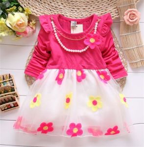 2015 New Arrival Spring Korean Princess Dress /Girls Fashion Dress with Necklace/ Children Wholesale Cotton Clothing Kd1122 pictures & photos