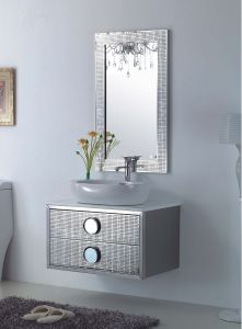Stainless Steel Silver on Floor Modern Bathroom Mirrored Cabinet (JN-88852) pictures & photos