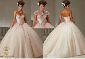 Two-Tones Tulle Ball Gown with Beading Prom Dress pictures & photos
