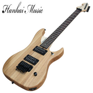 Hanhai Music/Original Wood Color Electric Guitar with Black Hardware pictures & photos