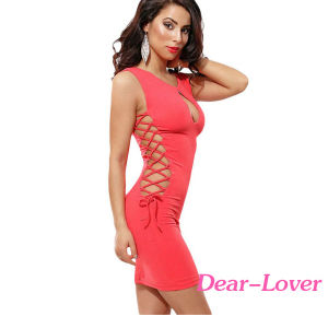 Fashion Watermelon Lace up Bodycon Mini Dress pictures & photos