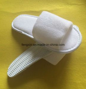 Portable Hotel Indoor Open Toe Disposable Terry Towel Slipper pictures & photos