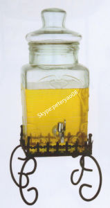 8L Glass Jar for Beverage Dispenser with Iron Stand pictures & photos