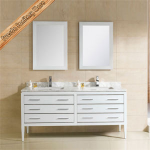 Natural Solid Wood Bathroom Vanity Double Basin Bathroom Cabinet pictures & photos