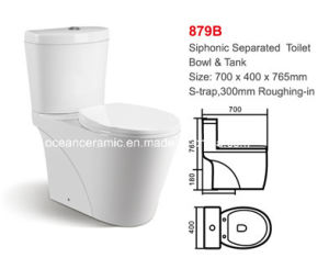 879b Water Closet, Sanitary Ware Ceramic Siphonic Two-Piece Toilet pictures & photos