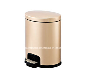 Oval Shape Stainless Steel Foot Pedal Bin with Luxury Champagne Color pictures & photos