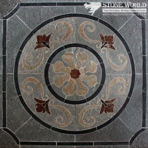 Mixed Color Waterjet Slate Medallion for Flooring/Paving/Lobby Tiles (mm-018) pictures & photos