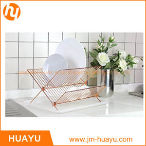 Foldable Gold Copper X Shape 2-Tier Steel Shelf Small Dish Rack with Drainboard pictures & photos