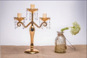 Golden Color Candle Holder for Wedding Decoration with Three Poster pictures & photos