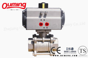3 PC Stainless Steel Thread Ball Valve with Pneumatic Actuator (OEM) pictures & photos