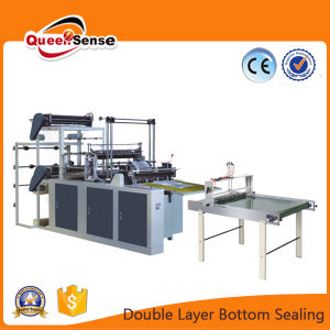 2layer Twoline Flat Bag T Shirt Bag Button Sealing and Cutting Bag Making Machine pictures & photos