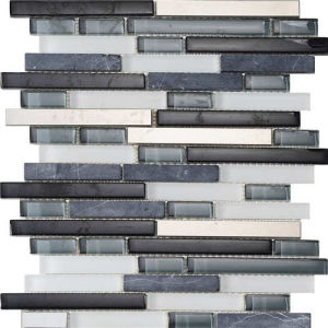 Stainless Steel Mixed Crystal Glass Backsplash Strip Mosaic pictures & photos