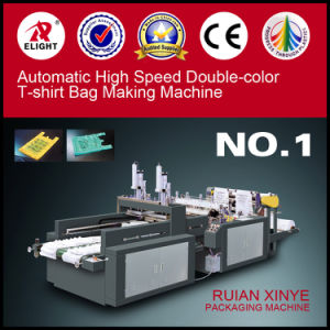 Automatic High Speed Double-Color Plastic T-Shirt Bag Shopping Bag Making Machine pictures & photos