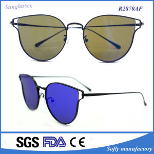 Wholesale Price UV 400 Copper Metal Flat Mirrored Lens Sunglasses pictures & photos