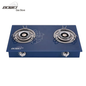 High Quality Blue Tempered Glass Double Burners Gas Cooker for Sale