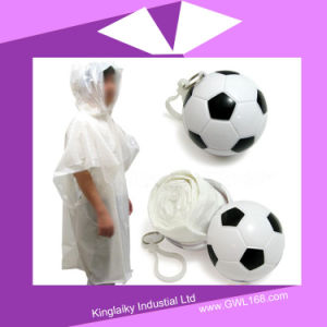 Disposable Poncho Raincoat in Plastic Ball for Promotional Gift FT-006 pictures & photos