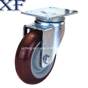 4 Inch Red PU Swivel Caster Wheel for Industrial Usage pictures & photos