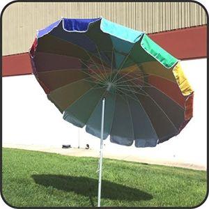 Giant 8′ Rainbow Beach Umbrella Heavy Duty Design Includes Sand Anchor & Carry Bag