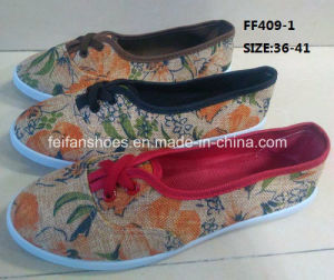 Cheap Fashion Lady Casual Shoes Injection Printing Canvas Shoes (FF409-1) pictures & photos