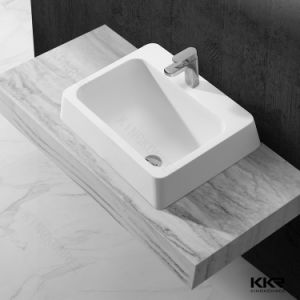 Pure White Resin Stone Solid Surface Bathroom Wash Basin pictures & photos