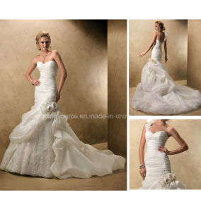 Removable One-Shoulder Puffy Train Bridal Gown Wedding Dress pictures & photos