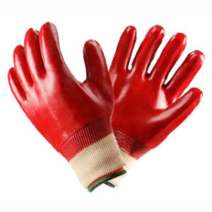 Red PVC Hand Safety Work Gloves pictures & photos