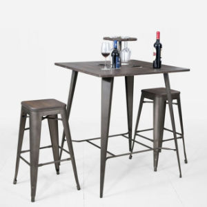 Metal Bar Furniture Industrial Tolix Table and Chair Set (FS-14042-1) pictures & photos