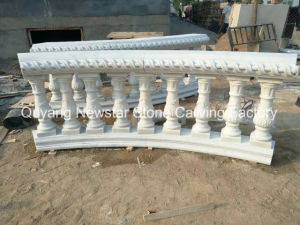 White Marble Handrail Stone Carving Staircase Railing Post pictures & photos
