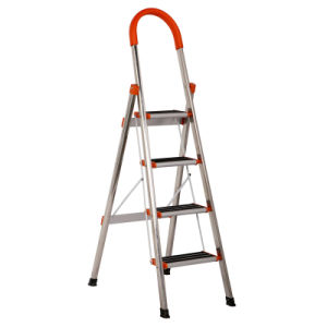 Best Selling En131 Approved 4 Step Stainess Steel Ladder pictures & photos