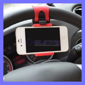 Portable Car Steering Wheel Phone Holder for iPhone 6 Plus Samsung Galaxy S6 LG HTC pictures & photos