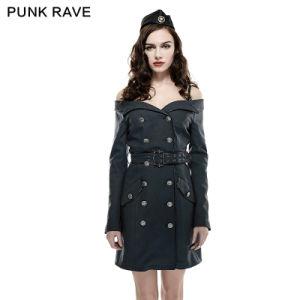 2016 Hot Sale Punk Rave Q-282 Black off The Shoulder Sexy Military Uniform Dress pictures & photos