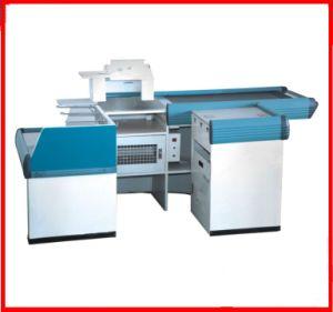 Supermarket Cashier Counter Table Desk for Sale with Conveyor Belt pictures & photos