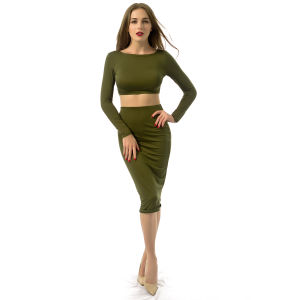 Women Amy Green Backless 2 Pieces Bodycon Bandage Dress pictures & photos
